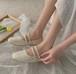 レディース フラットシューズ バレエシューズ パンプス スパンコール ビジュー ダブルストラップ スクエアトゥ ローヒール 白 ホワイト 緑 グリーン 黒 ブラック 春夏 結婚式 パーティー 韓国