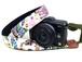 カメラストラップ 3㎝巾 ミラーレス&一眼レフカメラ用 片面 紅型デザイン 沖縄の果実と動物たち