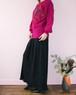 Black pleats slit skirt