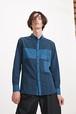 【KINO MEN'S】ネイビーとブルーのきりかえシャツ 818SSMB-02