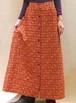 XS~Mサイズ【アメリカ製古着】1960年代代ヴィンテージ◆キルティング◆赤にアラベスク小花◆マキシ丈(ロング)スカート
