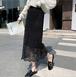 【bottoms】絶対欲しいエレガント透かし彫りレース切り替え2色スカート M-0356