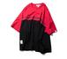 オーバーサイズロゴTシャツ/バイカラーでインパクトユニセックス送料無料