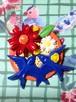216 青い鳥カップルとお花 帯飾り ブローチ