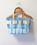 博多織×デニムトートバッグ「連」S  (LT-50)ムラ染め 藍染めデニム×ベージュレザー