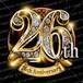 26周年PSD素材 エンブレム仕様。豪華でキラキラPhotoshop素材で周年を彩ろう!