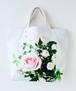 薔薇の花束・トートバッグ2/ホワイト