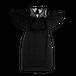 Black Lace Panel Frill Trim Cold Shoulder Dress