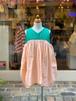 KIDS:frankygrow【フランキーグロウ】/V-NECK DRESS DYED:GREEN-PINK(LL/145cm)ワンピース