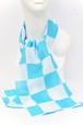 手拭いストール 市松(白青 中) 約120×33cm