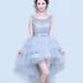 フィッシュテール ドレス フリル ショート丈 編み上げ リボン ラウンドネック ノースリーブ 結婚式 お呼ばれ 二次会(F014)