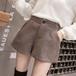 【 ボトムス】ファッションボタンハイウエストショート丈無地ショートパンツ23185282