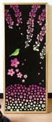 "tenugui (Japanese Towel) ""Cherry blossoms and nightingale at night"""