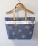 博多織×デニムトートバッグ「連」L ブルー小花柄×ベージュレザー(LT-34)