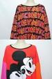 1990's MICKEY MOUSE リバーシブルスウェット レッド×ピンク×オレンジ×ブラック ウィメンズフリーサイズ ミッキーマウス