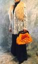 orange brown Flower motif bag