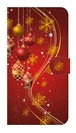 【鏡付き Lサイズ】Winter Holiday Gorgeous Red ウィンター・ホリデー ゴージャスレッド 手帳型スマホケース