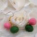 ピンクと緑のフェルトピアス