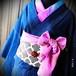 【雅な蝶のデニム着物】ブラック/インディゴ