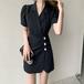 【dress】気質溢れる エレガントボタンデザインデートワンピースゆったり2色 M-0432