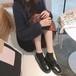 レディース ローファー 革靴 ラウンドトゥ ローヒール 厚底 合皮 革 黒 ブラック 茶 ブラウン 春秋 通勤 通学 学生 韓国