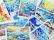 """""""シルクに描く鮮やかな旅のシリーズーオキナワ"""" ポストカード10枚セット"""