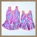 ワンピース型ガールズ水着/モザイク風ブルー×ピンク(対象年齢:2歳/6~7歳)