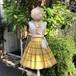 VINTAGE yellow cotton print skirt