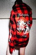 "Rakugaki ""TIGER & DRAGON"" Embroidery Buffalo Check Big Shirts"