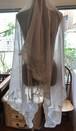 送料無料【特別価格】3サイドフランス製レースカシミヤの羽衣エンジェルストール/シルバーグレイ