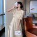 【dress】おしゃれ度高まる エレガント上品フリルデートワンピース2色大活躍