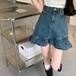 裾フリルデニムスカート ・15075