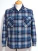 1970's PENDLETON ボックスウールシャツ エルボーパッチ 青 表記(M) ペンドルトン