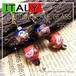 ウエディングケーキ アートビーズ☆ベネチアン  ガラス ヴィンテージ ドロップピアス 1950s レッド ネイビー 金箔