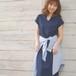 スパンワッフルマキシ丈ワンピース #J9883