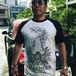 shakutenPraying hand raglanT-shirt B×W