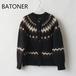 BATONER/バトナー・Mohair Nordic Crewneck Cardigan