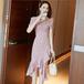 【dress】着回し力抜群エレガントVネックチュニックフリル花柄ワンピース M-0267