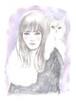 原画 girl with fluffy white cat