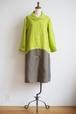 CUBY LINEN -short collar- 黄緑 × カーキ