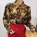 猫 ハート プリント レオパード柄 デザイン トップス・カットソー・ブラウス 長袖 個性的 ヒョウ柄