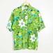 70's K-mart フラワーパターン 半袖シャツ グリーン メンズL
