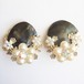 black mother of pearl flower earring[e-792]