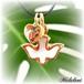 ハート型*オルゴナイトチャーム&鳩十字架クロス*ネックレス