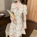 【dress】定番シンプスウィートチュニック花柄ワンピースオシャレ着心地良い M-0409