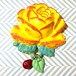 977 大きな薔薇の帯飾り(ブローチ)蜜柑オレンジ