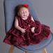 8446ドレス キッズ ベビー 女の子ドレス フォーマルドレス 赤ちゃん 出産祝い お宮参り 新生児 ワンピース 赤 3M6M12M24M 80cm 90cm
