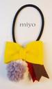 リボンとボンボンのヘアゴム*yellowB No.0107