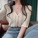 【トップス】Vネックシングルブレスト透かし彫りカジュアルニットTシャツ27813709