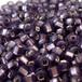 日本製シードビーズ、サイズ11/0、Violet Mat, Silver line